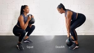 Jennifer demonstrating the difference between a squat and a deadlift