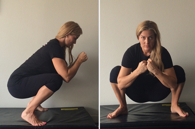 Left: Improper due to heels being raised, you may see this if you are lacking in ankle mobility Right: Improper due to rounding of the back and hunching over which drops the elbows past the knees